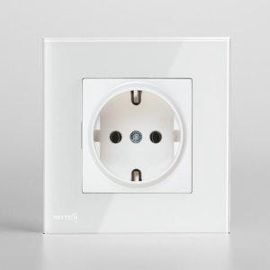 سوکت برق با کادر کریستال نستک سفید