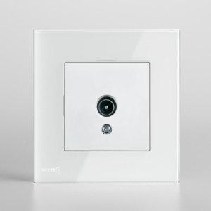 سوکت تلویزیون با کادر کریستال نستک سفید