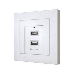 پریز شارژر usb دوبل دارای 2 پورت یو اس بی، استاندارد و ایمن برای شارژ موبایل یا هر وسیله برقی.